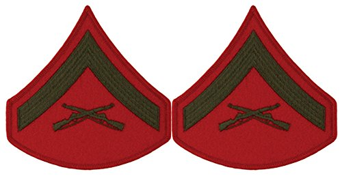 Green on Red USMC Chevrons - Lance Corporal - Male ()