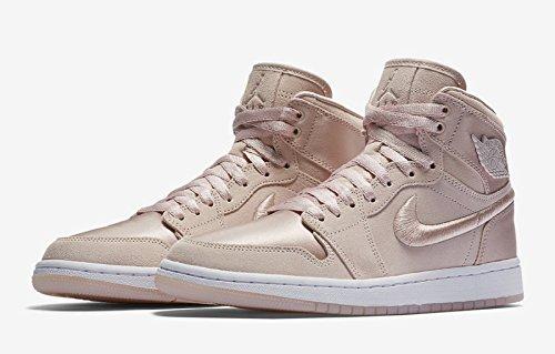 Jordan Nike Women's Air 1 Retro High Soh Ice Peach/White Metallic Gold Casual Shoe 7.5 Women US by Jordan