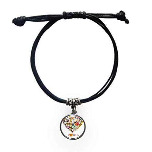cold master DIY lab France Love Paris Eiffel Arch of Triumph Heart Bracelet Leather Rope Wristband Black Jewelry