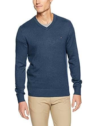 TOMMY HILFIGER Men's Pima Cotton Cashmere V-Neck Sweater, Heather Dark Denim, Large