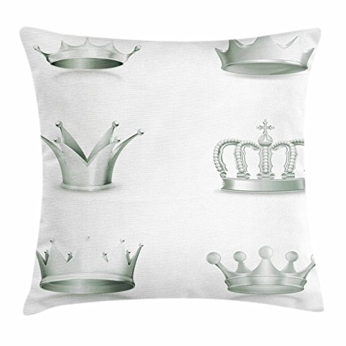 Silver Throw Pillow Cushion Cover by Ambesonne, Different Kinds of Antique Crowns Queen King Imperial Theme Vintage Symbol, Decorative Square Accent Pillow Case, 18 X 18 Inches, Pale Green - Queen Mother Crown