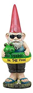 No Peeing In The Pool Gnome Lifeguard With Sunglasses And Float Outdoor Poolside Statue