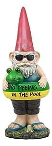 No en la piscina al aire libre piscina de flotador salvavidas con gafas de sol y Gnome orinando