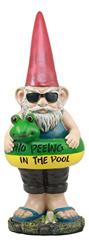 Guard Statue - Ebros No Peeing In The Pool Lifeguard Gnome With Shades And Float Statue Sandals Retired Vacation Gnome Poolside Baywatch Beach Coastal Decor Sculpture