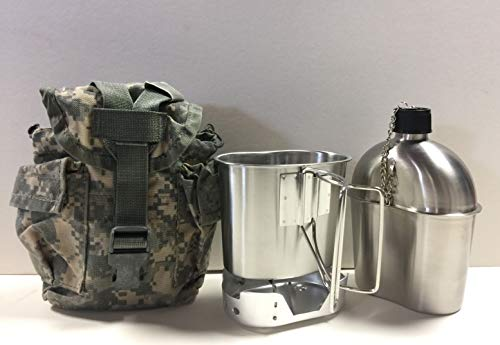 G.A.K New Military Style 1 qt. Stainless Steel Canteen with Cup, Aluminum Foldable Stove, and Used Surplus G.I. Issue Cover Kit. (ACU MOLLE II)