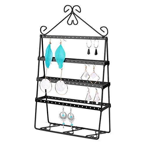 Flexzion Jewelry Tower Organizer, Metal Accessories Holder, Antique 4-Layer Display Stand for Hanging Earrings Necklaces Bracelets, Ornament Storage for Dresser Nightstand Tabletop Desktop, Black (Black Target Nightstand)