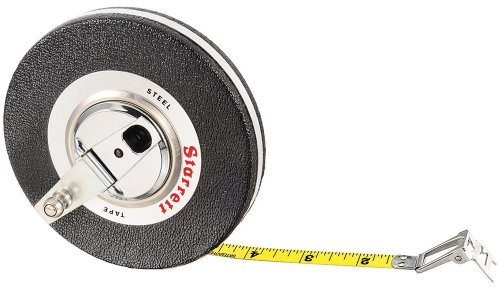 Starrett Tape Measure - Starrett 530CI-600 Vinyl/Steel Case Black Closed Reel Steel Long Tape, English Graduation Style, 50 feet Length, 0.375