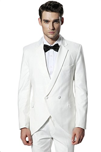 Hanayome Men's 2015 New Arrival Regular 2 Pieces Tuxedo Suit Separate & Pants D342?White,54L? New 54l Mens Suit