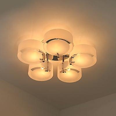 NATSEN Ceiling Lights Metal Semi Flush Mount Ceiling Light Fixture for Bedroom Living Room Dining Room 5-Lights