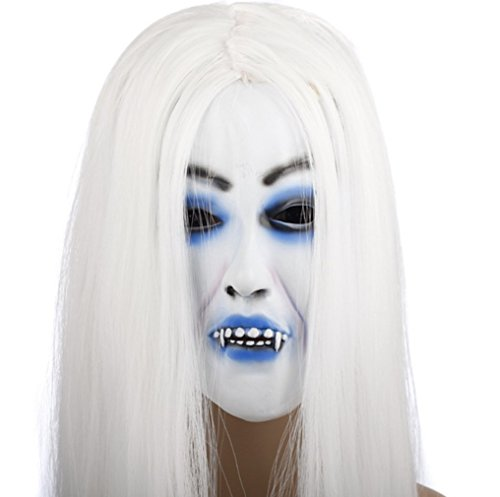 Snow Woman white hair witch horror mask (japan import)]()