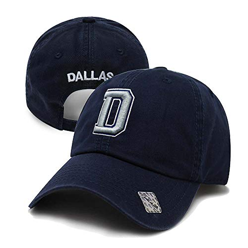 Football City Initial Letter Cotton Cap Dad Hat Baseball Cap Polo Style Low Profile (Dallas)