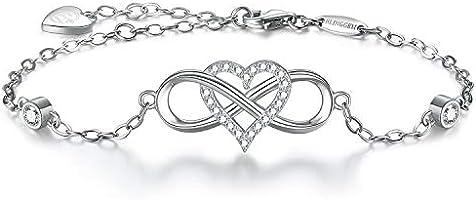 BlingGem Bracelet pour Femme en Argent 925/1000 Oxyde de Zirconium Rond Gourmette Infini Coeur Amour Ensemble Pour...