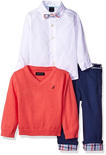 Nautica Baby Boys' Long Sleeve Button Down Shirt, Pullover, and Short With Faux Belt Set, Guava, 18 Months - Guava Set