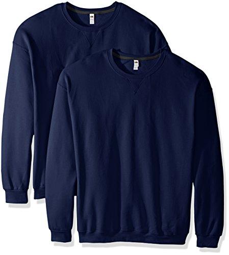 Fruit of the Loom Men's Crew Sweatshirt (2 Pack), Admiral Blue, X-Large
