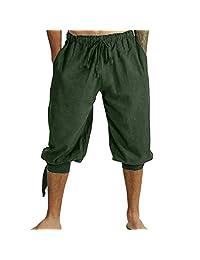 iYYVV Mens Retro Medieval Cropped Pants Viking Loose Trouser Elastic Drawstring Shorts