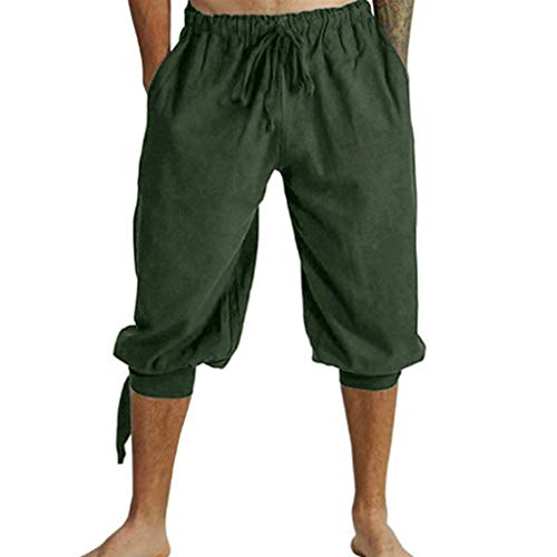 Green Costume Ideas For Sports Day (Goddessvan 2019 Men's Medieval Pants Costume Viking Loose Trousers Knee-Length Plus Size Bandage Beach Shorts Army)