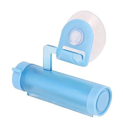 eDealMax Rodillo plástico hogar ventosa tubo de Crema Dental del dispensador del exprimidor de Azul