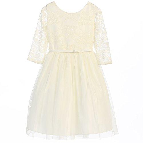 Sweet Kids Big Girls Off White Lace Sleeve Ballerina Chri...