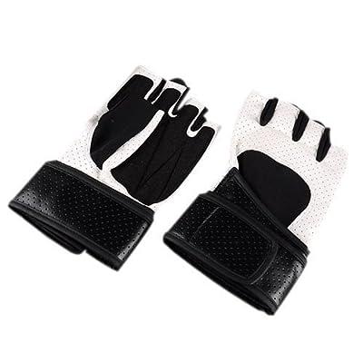 Gants pour les sports - SODIAL(R) Hommes professionnels pour Faire des exercices Entrainement Fitness Sports Wrist Wrap Musculation Halterophilie Gants (Blanc)