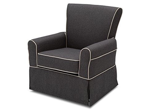 Delta Furniture Upholstered Glider Swivel Rocker Chair, Charcoal with Flax Welt
