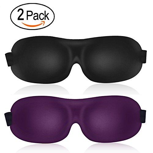 3D Sleep Mask (leeken New Design 2 Pack) Eye Mask for Sleeping - Contoured Eyemask - Blindfold Airplane mask- Night Blinder Eyeshade for Men - Shades For Expensive Men