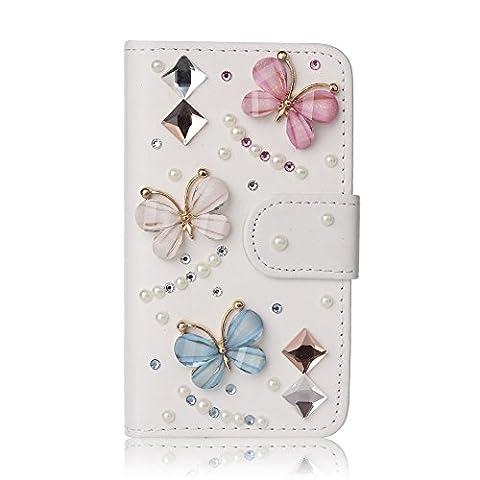 Bling Crystal Diamonds Bow PU leather flip slots wallet cover case skin for Mobile Phones(ZTE Quartz (Phone Quartz)