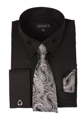 (George's Dress Shirt w/ Matching Tie,Hankie,Cuff & Cufflink AH619-Bk-20-20 1/2 -36-37)