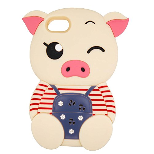 Samsung Galaxy Core Prime G360 Case, Maoerdo Cute 3D Cartoon Beige Stripes Pig Silicone Rubber Phone Case Cover for Samsung Galaxy Core Prime G360
