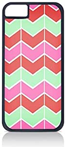 Lined Chevron Pattern (Pink, Coral, Green)- Case for the Apple Iphone 6 Plus Only-Hard Black Plastic Outer Shell