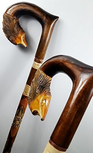 34 inch FOX Cane Walking Stick Wooden Handmade Men's Accessories by oleksandr.victory
