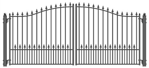ALEKO Munich Style Iron Wrought Gate 16' Ornamental Dual Swing Driveway Gates (Ornamental Wrought Iron Gates)