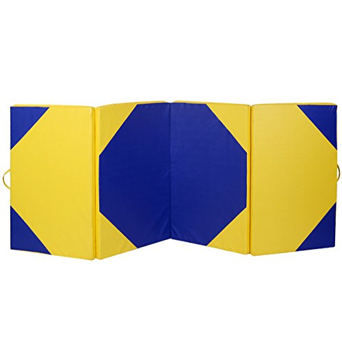 4'x10'x2 Gymnastics Mat Thick Folding Panel Gym Fitness Exercise Yellow/Blue with Ebook