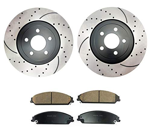 Atmansta QPD10036 Front Brake kit with Drilled/Slotted Rotors and Ceramic Brake pads for 2005-2018 Chrysler 300 5.7L V8 or AWD V6 2006-2018 Dodge Charger 2009-2018 Dodge Challenger 2006-2008 -