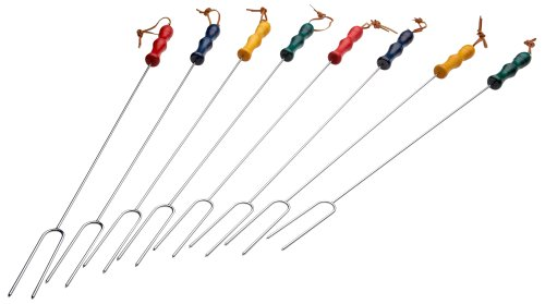CS-2200 Rome's 8 Piece Marshmallow Roasting Fork Set, Chrome Plated with Multi Colored Handles