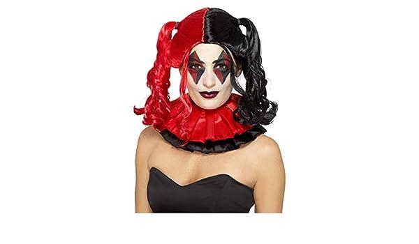 Horror-Shop Peluca de trenza Harlequin rojo-negro: Amazon.es: Juguetes y juegos