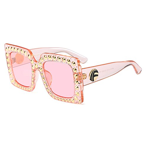 UV400 UN Burenqi Sobredimensionado Degradado de Lujo Mujer Marca A Gafas Bastidor Sol Remaches de Plaza Gafas Meatl Designer Hembra 1Cw1qa