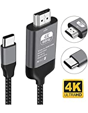 Kdely Cable USB C a HDMI HDMI Cable Adapter (6.6ft) Type-C para iPad Pro/Macbook Air 2018, 2018 MacBook Pro, Samsung Galaxy S10/S10E/S9/Note 8/S9+/S8, Huawei P30 Pro/P20/Mate 10/Mate 20 y Más.(2 m)