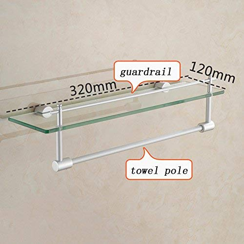 1213.532cm BAIF Bathroom Shelf Space Aluminum 2 Layer 8MM Tempered Glass Shelf Guardrail Surface Anodized Stable and Durable Easy to Clean (Size   12  13.5  50cm)