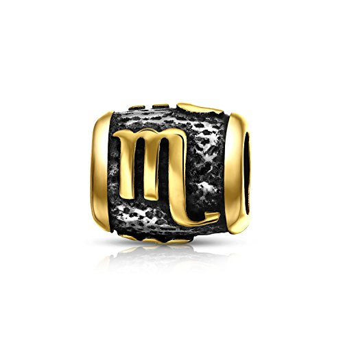 Scorpio Charm Gold Plated 925 Sterling Silver Zodiac Bead