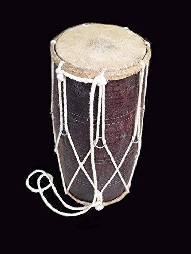 HANDMADE ROPE TUNED INDIAN WOOD MUSICAL DHOLAK DHOLAKI DRUM ()