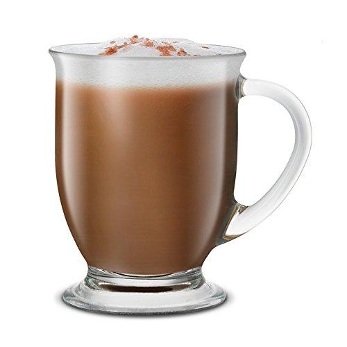 KooK Café Coffee Or Tea Glass Hot Mugs Set 15oz (Set Of 4)