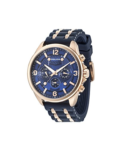 Police Men's Watch CLAYMONT PL.15218JSR/03P Blue Rubber Stap Date Display and 50 mm
