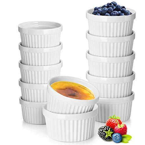 12 Pack Porcelain Souffle Dish Ramekins for Baking – 6 Ounce x 6, 8 Ounce x 6 – White Ramekins Bakeware Set Baking Cups…