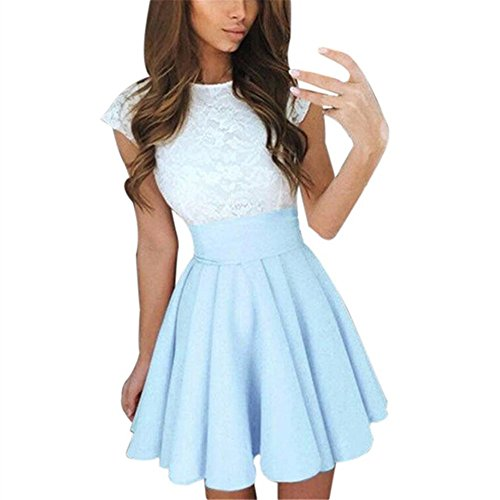 KMG Kimloog Womens Lace Party Cocktail Mini Dress Summer Short Sleeve Skater Short Dresses (L, Sky Blue) -