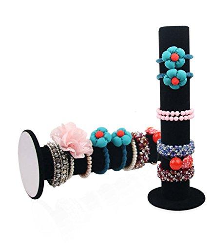 BOCAR Velvet Vertical Tower Jewelry Bracelet Display Stand Bangle T-Bar Display Holder (black)