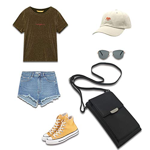 Summer Small Crossbody Bag, Cell Phone Purse Wallet with 2 Adjustable Shoulder Strap Handbag for Women (Black) by VIVI MAO (Image #5)