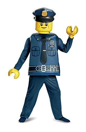 Disguise Lego Police Officer Deluxe Costume, Blue, Small (4-6)]()