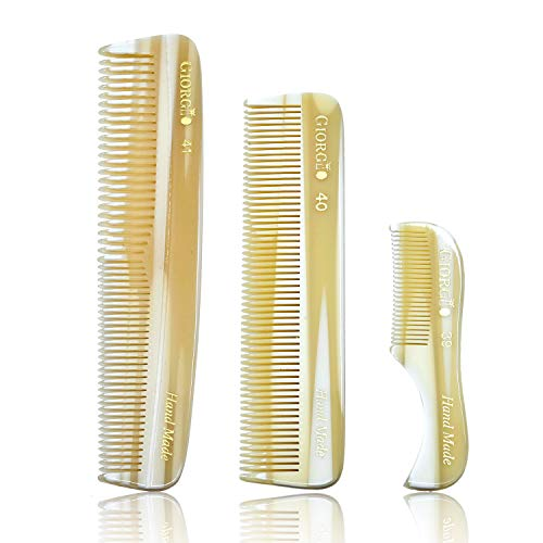 Giorgio Combs Set of 3 – G39 2.75″ X-Small Men's Fine Toothed Beard and Mustache Comb + G40 4.5″ All Fine Tooth Pocket Comb + G41 5″ Coarse/Fine Teeth Comb