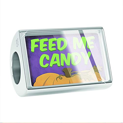 NEONBLOND Charm Feed Me Candy Halloween Pumpkin Top 925 Sterling Silver Bead -