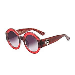 UV- Oversized Round Sunglasses Women Multi Tinted Frame,Fashion Trend Sunglasses(red frame)